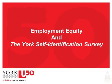 Employment Equity And The York Self-Identification Survey.