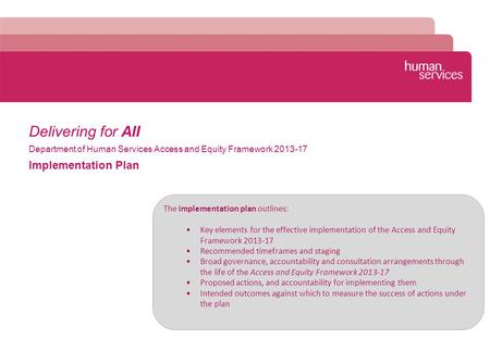 Delivering for All Implementation Plan