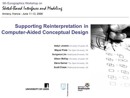 Supporting Reinterpretation in Computer-Aided Conceptual Design Iestyn Jowers University of Leeds, UK Miquel Prats The Open University, UK Sungwoo Lim.