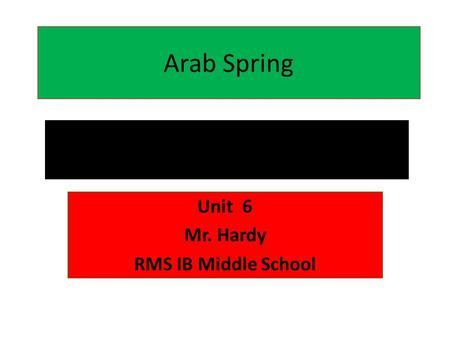 Arab Spring Unit 6 Mr. Hardy RMS IB Middle School.