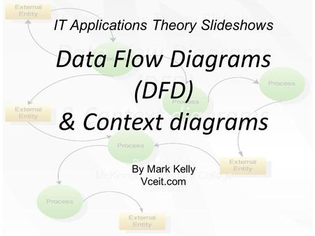 IT Applications Theory Slideshows Data Flow Diagrams (DFD) & Context diagrams By Mark Kelly McKinnon Secondary College Vceit.com IT Applications Theory.