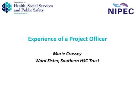 Experience of a Project Officer Marie Crossey Ward Sister, Southern HSC Trust.