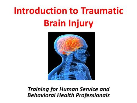 Introduction to Traumatic Brain Injury Training for Human Service and Behavioral Health Professionals.