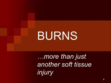 1 BURNS …more than just another soft tissue injury.