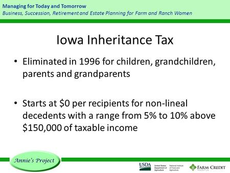Managing for Today and Tomorrow Business, Succession, Retirement and Estate Planning for Farm and Ranch Women Iowa Inheritance Tax Eliminated in 1996 for.