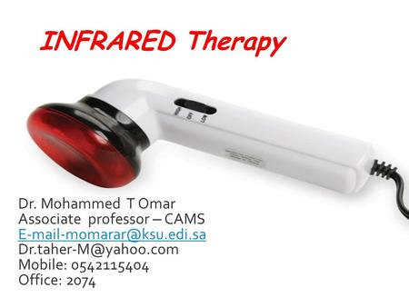 Dr. Mohammed T Omar Associate professor – CAMS  Mobile: 0542115404 Office: 2074.