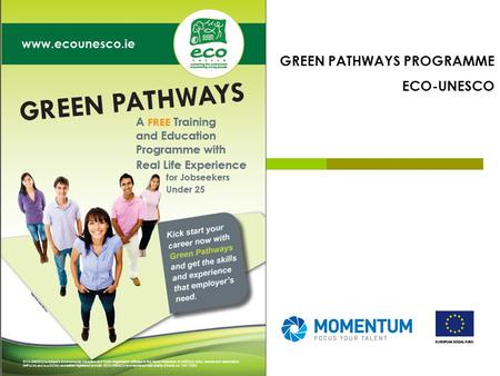 GREEN PATHWAYS PROGRAMME ECO-UNESCO. Irelands environmental education and youth organisation - Est. in 1986 Specialise in environmental education and.