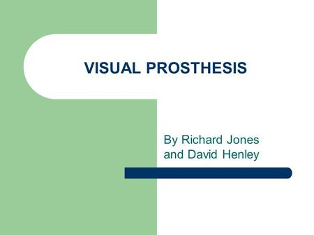 VISUAL PROSTHESIS By Richard Jones and David Henley.