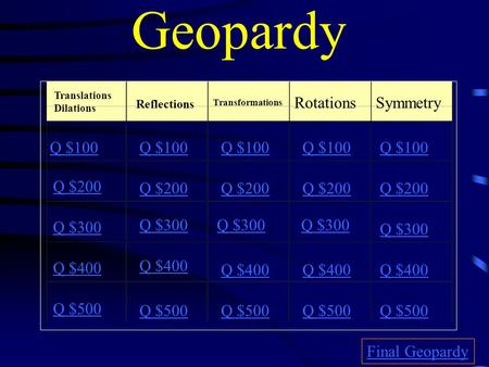Geopardy Translations Dilations Reflections Transformations RotationsSymmetry Q $100 Q $200 Q $300 Q $400 Q $500 Q $100 Q $200 Q $300 Q $400 Q $500 Final.