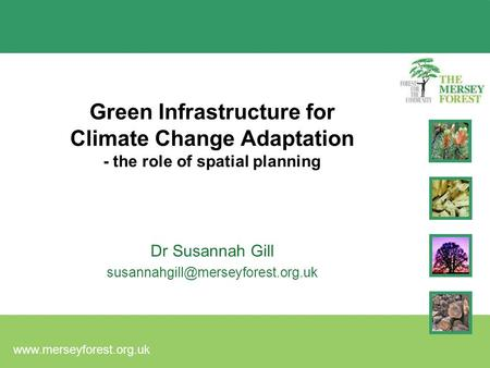 Green Infrastructure for Climate Change Adaptation - the role of spatial planning Dr Susannah Gill
