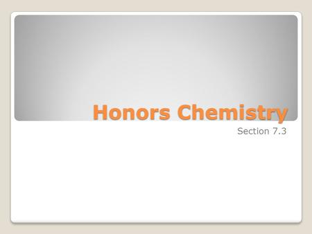 Honors Chemistry Section 7.3. A chemical formula indicates: ◦the elements present in a compound ◦the relative number of atoms or ions of each element.