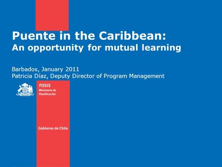 Puente in the Caribbean: An opportunity for mutual learning Barbados, January 2011 Patricia Díaz, Deputy Director of Program Management.