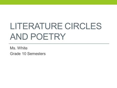 Literature Circles and Poetry