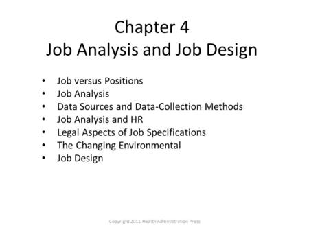 Chapter 4 Job Analysis and Job Design