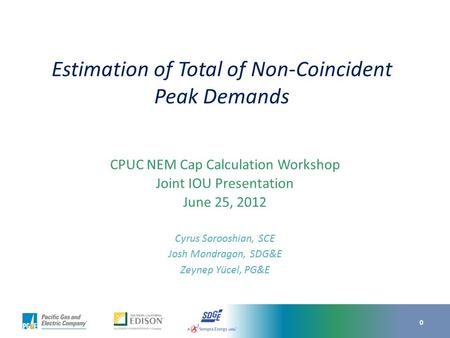 Overview – Non-coincident Peak Demand
