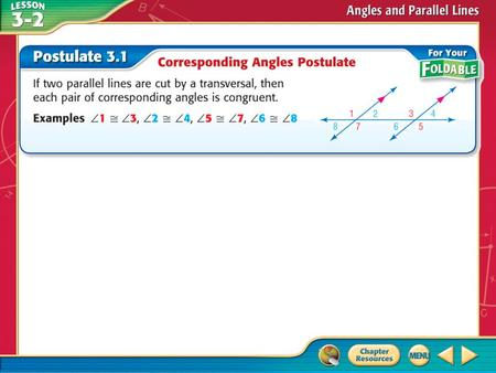 Concept. Example 1 Use Corresponding Angles Postulate A. In the figure, m  11 = 51. Find m  15. Tell which postulates (or theorems) you used. Answer: