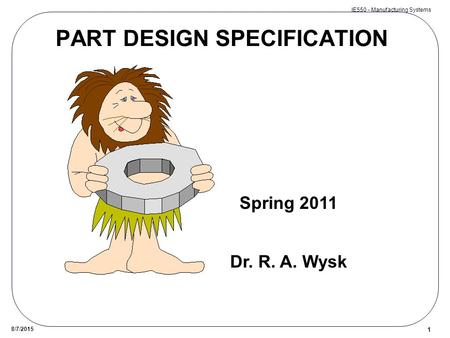 PART DESIGN SPECIFICATION