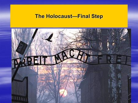 The Holocaust—Final Step. The final step in Hitler's effort to rid Europe of Jews was the DEATH CAMP.