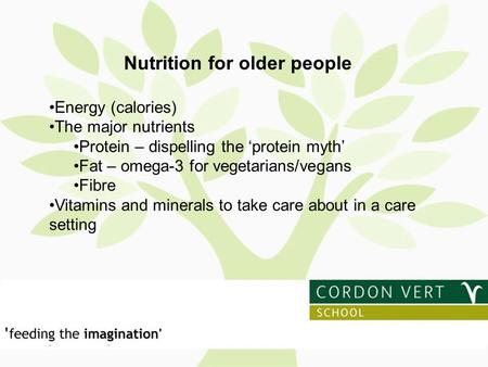Nutrition for older people Energy (calories) The major nutrients Protein – dispelling the 'protein myth' Fat – omega-3 for vegetarians/vegans Fibre Vitamins.
