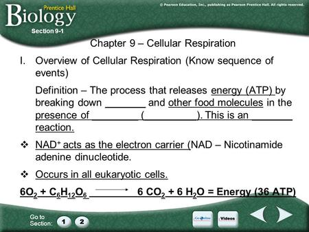Go to Section: Chapter 9 – Cellular Respiration I.Overview of Cellular Respiration (Know sequence of events) Definition – The process that releases energy.