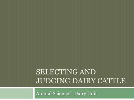 Selecting and Judging Dairy Cattle