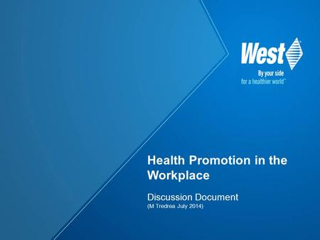 Discussion Document (M Tredrea July 2014) Health Promotion in the Workplace.