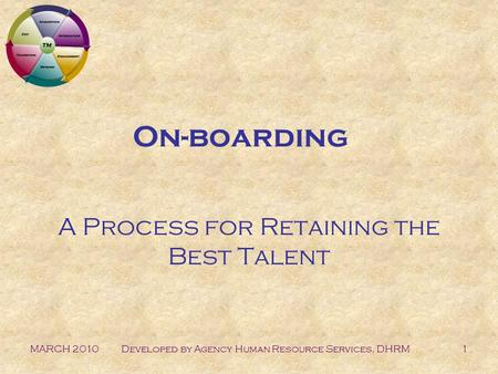 MARCH 2010Developed by Agency Human Resource Services, DHRM1 On-boarding A Process for Retaining the Best Talent.