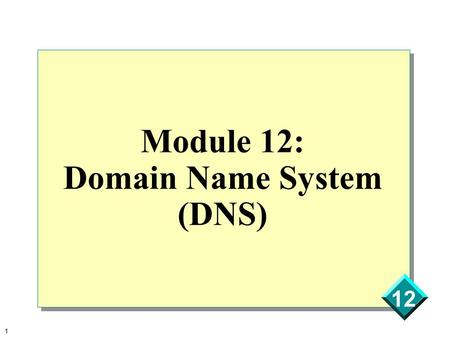 Module 12: Domain Name System (DNS)