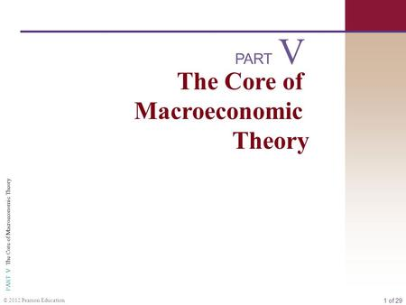 1 of 29 PART V The Core of Macroeconomic Theory © 2012 Pearson Education PART The Core of Macroeconomic Theory V.