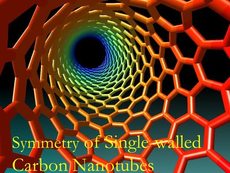 Symmetry of Single-walled Carbon Nanotubes. Outline Part I (November 29) Symmetry operations Line groups Part II (December 6) Irreducible representations.