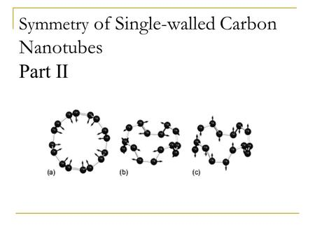Symmetry of Single-walled Carbon Nanotubes Part II.