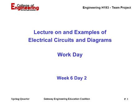 Engineering H193 - Team Project Gateway Engineering Education Coalition P. 1 Spring Quarter Week 6 Day 2 Lecture on and Examples of Electrical Circuits.