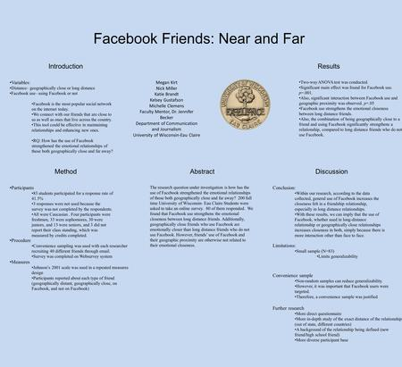 Facebook Friends: Near and Far Abstract Introduction Method Two-way ANOVA test was conducted. Significant main effect was found for Facebook use. p=.001.