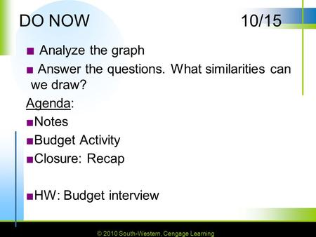 © 2010 South-Western, Cengage Learning DO NOW10/15 ■ Analyze the graph ■ Answer the questions. What similarities can we draw? Agenda: ■Notes ■Budget Activity.