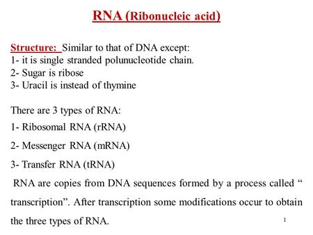 1 RNA ( Ribonucleic acid ) Structure: Similar to that of DNA except: 1- it is single stranded polunucleotide chain. 2- Sugar is ribose 3- Uracil is instead.