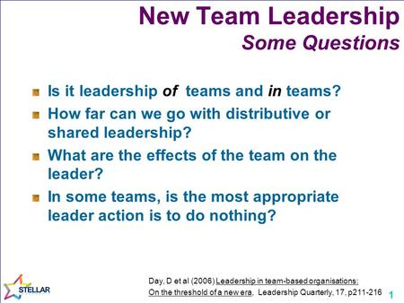 1 New Team Leadership Some Questions Is it leadership of teams and in teams? How far can we go with distributive or shared leadership? What are the effects.