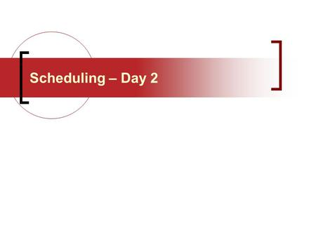 Scheduling – Day 2. Production Planning Process Process Planning Strategic Capacity Planning Aggregate Planning Master Production Scheduling Material.