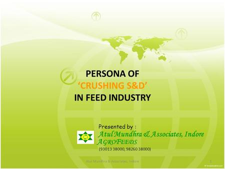 Atul Mundhra & Associates, Indore1 PERSONA OF 'CRUSHING S&D' IN FEED INDUSTRY Presented by : Atul Mundhra & Associates, Indore A GRO F EEDS (93013 38000,