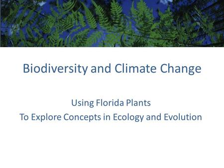 Biodiversity and Climate Change Using Florida Plants To Explore Concepts in Ecology and Evolution.