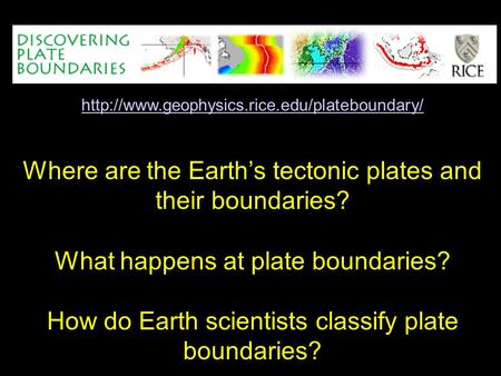 Where are the Earth's tectonic plates and their boundaries? What happens at plate boundaries? How do Earth.