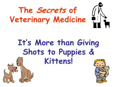 It's More than Giving Shots to Puppies & Kittens! The Secrets of Veterinary Medicine.