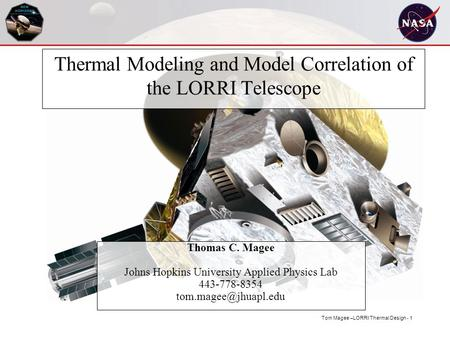 Thermal Modeling and Model Correlation of the LORRI Telescope