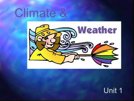 Climate & Unit 1. Vocabulary Weather Atmosphere Climate Precipitations Wind Meteorologist Anemometer Wing vane.