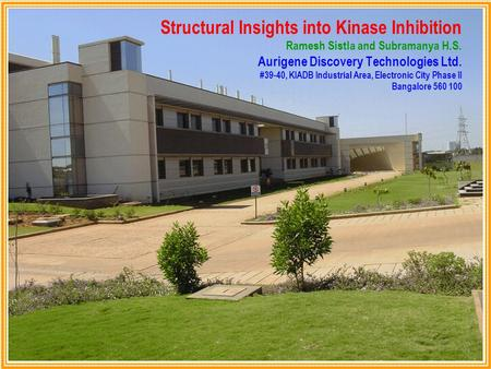 Structural Insights into Kinase Inhibition Ramesh Sistla and Subramanya H.S. Aurigene Discovery Technologies Ltd. #39-40, KIADB Industrial Area, Electronic.