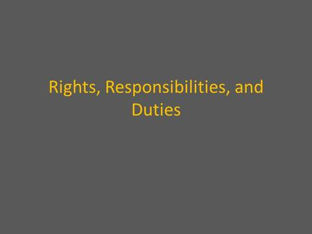 Rights, Responsibilities, and Duties. RIGHTS What citizens are entitled to are.