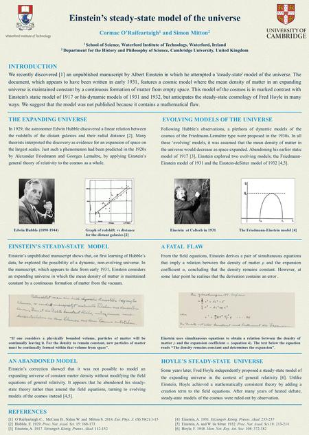 Einstein's steady-state model of the universe INTRODUCTION We recently discovered [1] an unpublished manuscript by Albert Einstein in which he attempted.