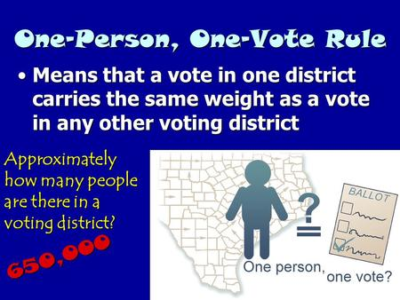 One-Person, One-Vote Rule Means that a vote in one district carries the same weight as a vote in any other voting districtMeans that a vote in one district.