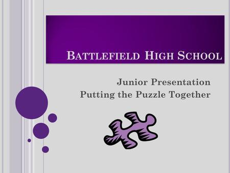 B ATTLEFIELD H IGH S CHOOL Junior Presentation Putting the Puzzle Together.