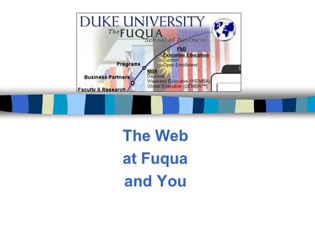 The Web at Fuqua and You. New opportunities n Selection of DreamWeaver as Fuqua's standard web editing software. n The imminent selection of easy-to-use.