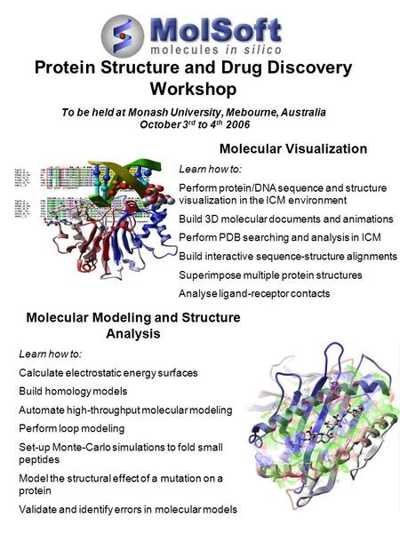 Protein Structure and Drug Discovery Workshop To be held at Monash University, Mebourne, Australia October 3 rd to 4 th 2006 Molecular Visualization Learn.